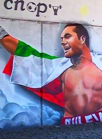 Четириметров графит в чест на Кубрат Пулев в София