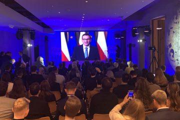 Премирът на Полша Тадеуш Мазовецки в обръщение.